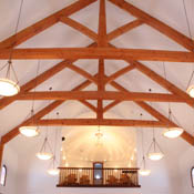 View of the beams & balcony in the Chapel
